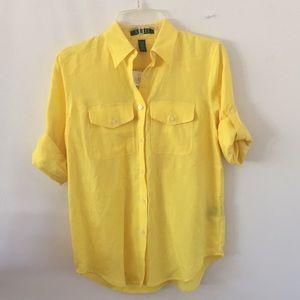 NWT Ralph Lauren Yellow Linen Shirt